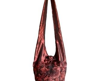 Silk Purse Bag Hippie Hobo Sling Crossbody Messenger Book Bag in Red Burgundy Floral Rosette Embroidered