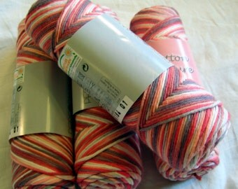 Cotton Nature Yarn Hypoallergenic yarn, variegated yarn, shades of pink and gray, strawberry with milk chocolate. naturale cotton. DSH(P3)