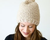 Chunky pom pom beanie knitted hat in oatmeal - hand knitted