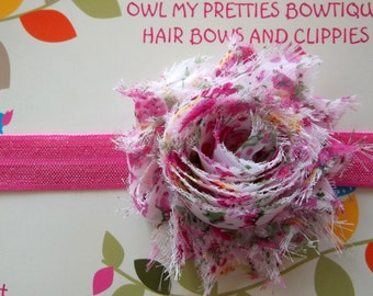 Vintage Floral Pink Shabby Frayed Chiffon Flower Elastic Headband Babies Toddlers Girls