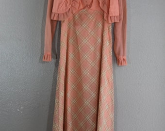 vintage maxi dress in peach plaid with matching shrug- set