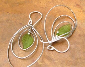 Modern Silver Sphere Earrings - Green Leaf Charm Earrings - Bohemian Twirling Hoop Earrings