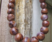 Vintage Brown Swirl Clay Bead Statement Necklace