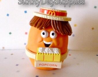 Vintage McDonald's Happy Meal Toys, McNugget Buddies, CORNY, Popcorn Man, Chicken McNugget, Popcorn, Chicken McNugget, 1988, Food Toy