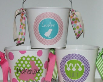 Monogrammed Easter Basket - Custom Easter Bucket - 5-quart white bucket with customized decal