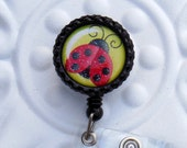 Retractable Badge Holder Bottlecap ID Badge Reel Teacher Lanyard Cute Ladybug