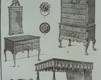 Sepia print Colonial Furniture 1911