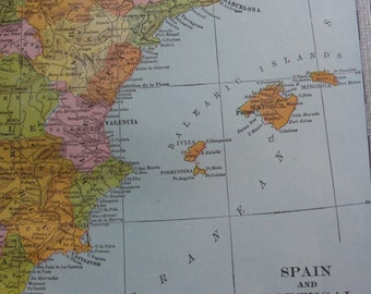 Antique Map Spain and Portugal 1911