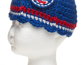 Chicago Cubs Inspired Crocheted Cap w/Ruffled Brim (Newborn - 10 years old)