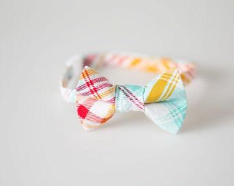 Boys Bowtie - Red, Orange, and Aqua Plaid - Baby Bow Tie
