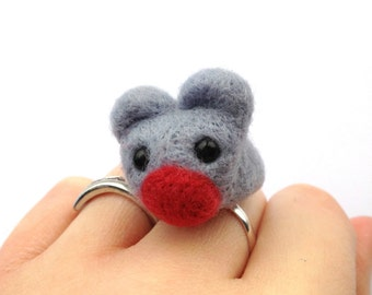 Felt Mouse Ring - Baby Grey Needle Felted Jewellery, Adjustable Animal Ring With Red Nose