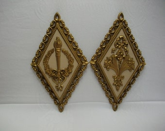 HOMCO Syroco Hollywood Regency Vintage Gold Wall Decor, SYROCO VIntage Wall Plaques