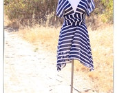 Wrap Dress in Navy and White Striped Tea Length Infinity Summer Dress - READY TO SHIP