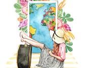 Tropical Girl Traveler Watercolor - Fashion Illustration -  Painting Print