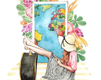 Tropical Girl Traveler Watercolor - Fashion Illustration -  Painting Print