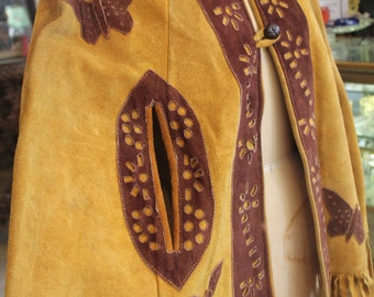1970's Brown Leather Fringe Butterfly Poncho