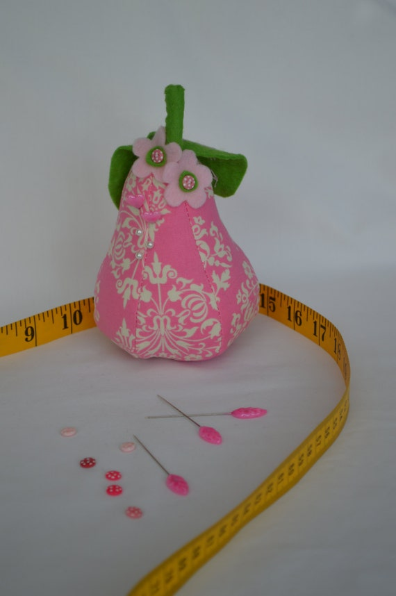 Pink and Cream Pear Pin Cushion