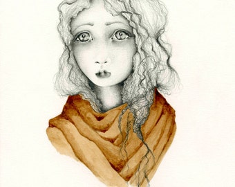 Fine Art Print Original Drawing Illustration Painting Coffee Staining Melancholy Portrait of a Girl Gift for Her