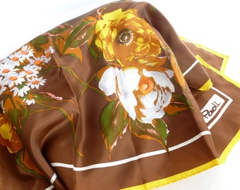 Paoli Floral Scarf in Chocolate Brown, Mustard Yellow, Pink, White, Green, Orange Roses and Daisies Designer Accessory