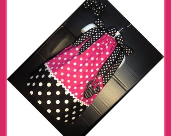 Custom Made Minnie Mouse DRESS Embroidered Applique NAME Inspired Hot pink Polka dot SIZES 6M-6yrs white trim