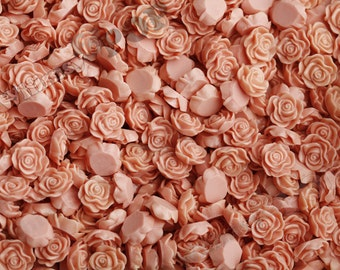 Coral Salmon Flower Cabochons, Flat Back Embellishment, Rose Shaped, 13mm (R1-053)