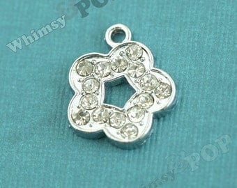 1 - Clear Diamante Daisy Flower Glass Crystal Rhinestone Charm Pendant, Flower Charm, 18mm x 16mm (3-6H)