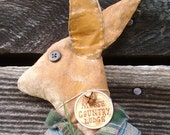 Country,Primitive. Rabbit Doll,Wall Hanging, Shelf Sitter or Tuck for Cabin or Lodge