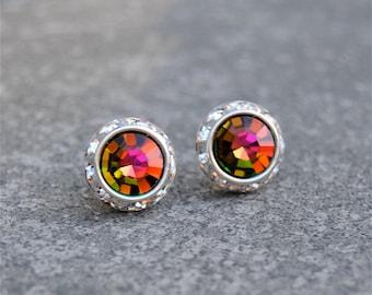 Fuchsia Rainbow Rhinestone Stud Earrings Vintage Swarovski Crystal Post Earrings Sugar Sparklers Small Mashugana