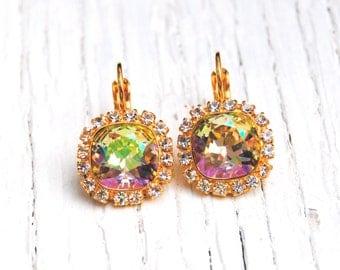 Lemon Rainbow Earrings Swarovski Crystal Diamond Rhinestone Earrings Mashugana