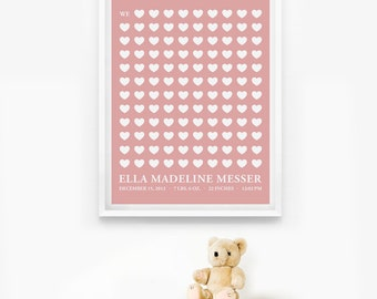 Personalized Birth Announcement, Nursery Birth Print, Baby Gift, Children Decor, We love you so much