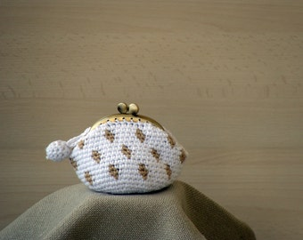 Old gold kisslock coin purse white with polka dots crochet, framed kisslock coin wallet, crochet small purse