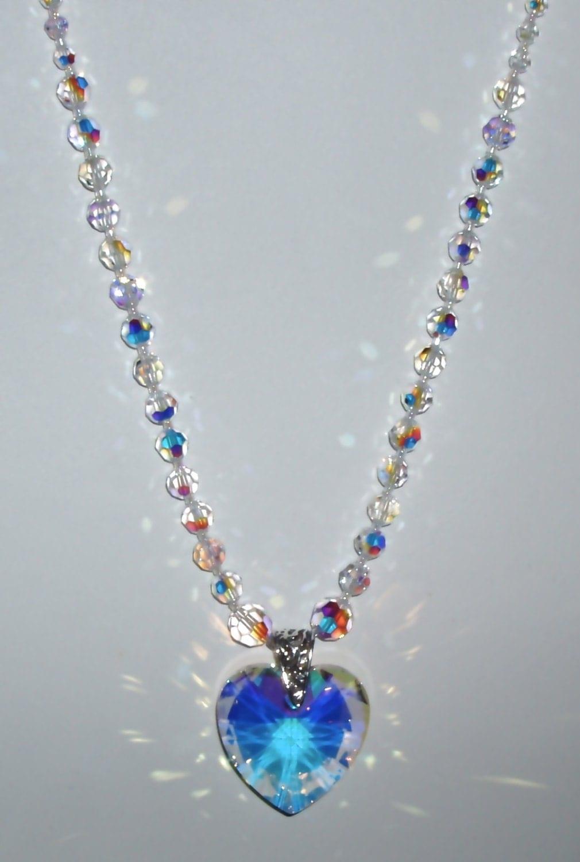 sale clear ab swarovski crystal heart pendant necklace. Black Bedroom Furniture Sets. Home Design Ideas