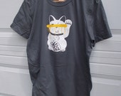 Large Blind Lucky Cat Unisex Charcoal Tee