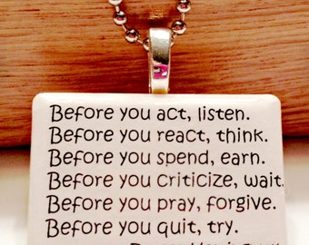 Ernest Hemingway Quote Game Tile Pendant