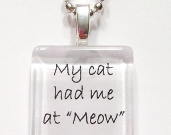 My cat had me at meow glass tile pendant