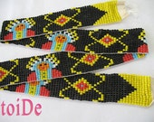 Wide Native American long Band Beadwork in Black and yellow