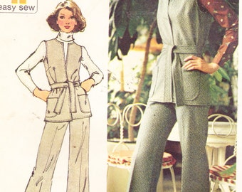 "1970s Vintage Womens Sewing Pattern Knit Vest and Pants Simplicity 5858 Size 14 Bust 36"" UNCUT"