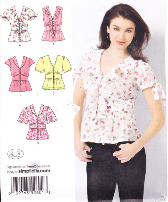 Womens sewing pattern button down shirt simplicity 2601 size for Custom pattern button down shirts