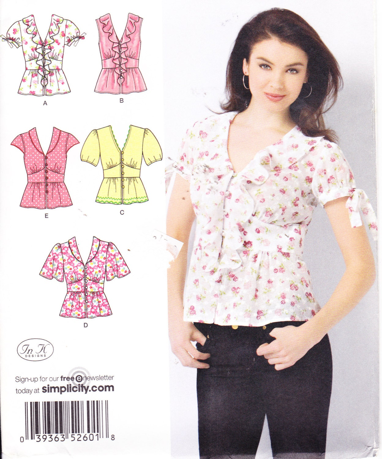 Womens Sewing Pattern Button Down Shirt Simplicity 2601 Size