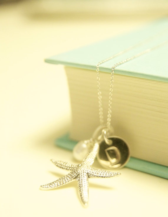 Starfish & pearl initial necklace