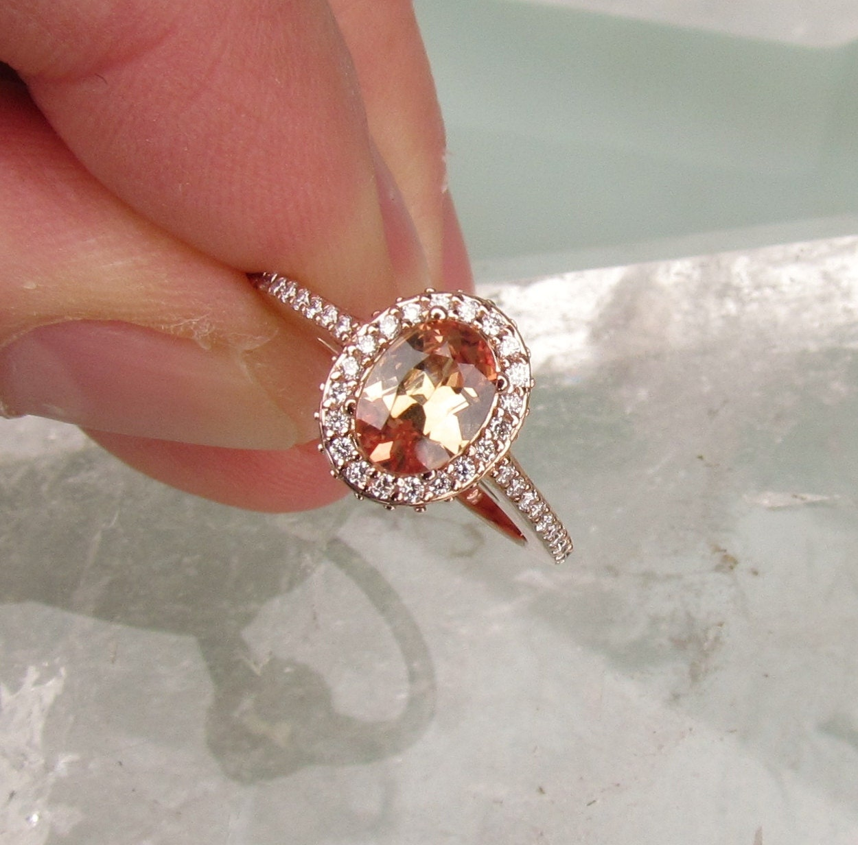 Sunset Peach Sapphire 14k Rose Gold Diamond Halo Engagement
