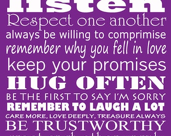 """Married rules of love - purple 8x10"""" print wedding bridal engagement gift idea"""