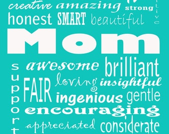 """MOM you're awesome 8x10"""" print gift for Mother's Day Mom's birthday"""