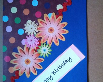 Blue and Brown dotted with Flowers Birthday Card