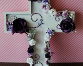 FREE SHIPPING!!!! Wood cross decorated with paper flowers and pearls