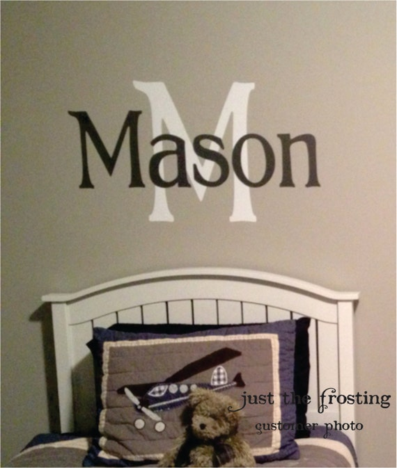 Childrens decor boys vinyl name wall decal monogram for Boys wall decor