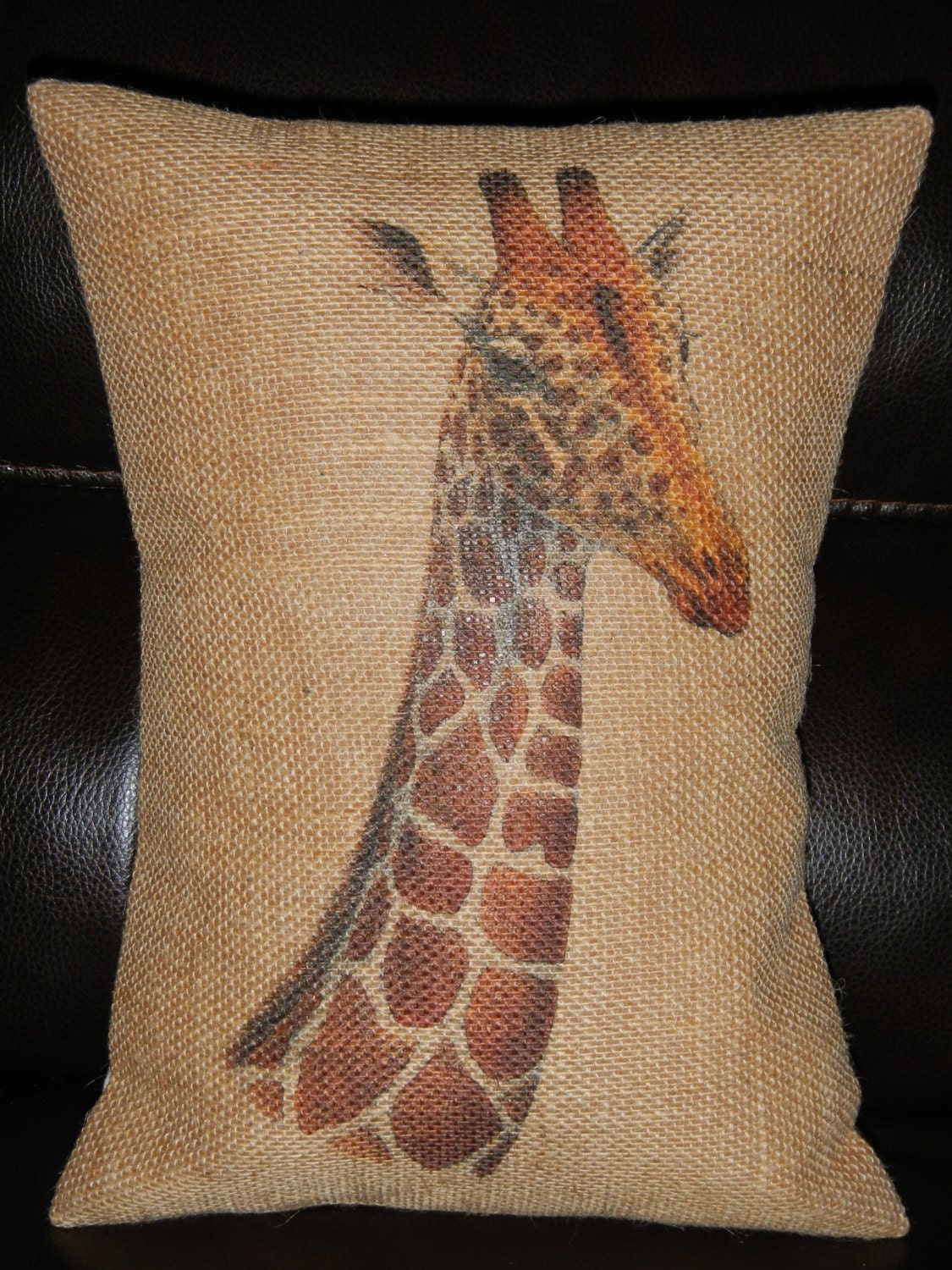 Giraffe Burlap Pillow Rustic giraffe by PolkadotApplePillows