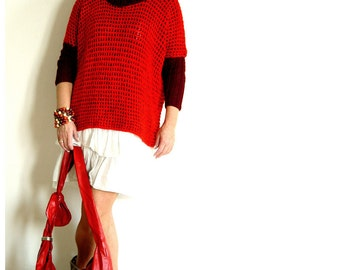 SALE! Deep Red n Burgundy Boxy Sweater.