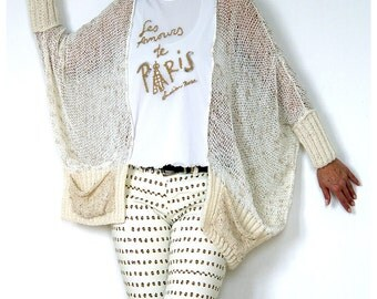 SALE! Gorgeous Stormy Beige Sweater with Lace Detailing.