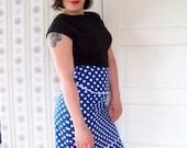 CLEARANCE High waisted skirt polka dot skirt blue and white